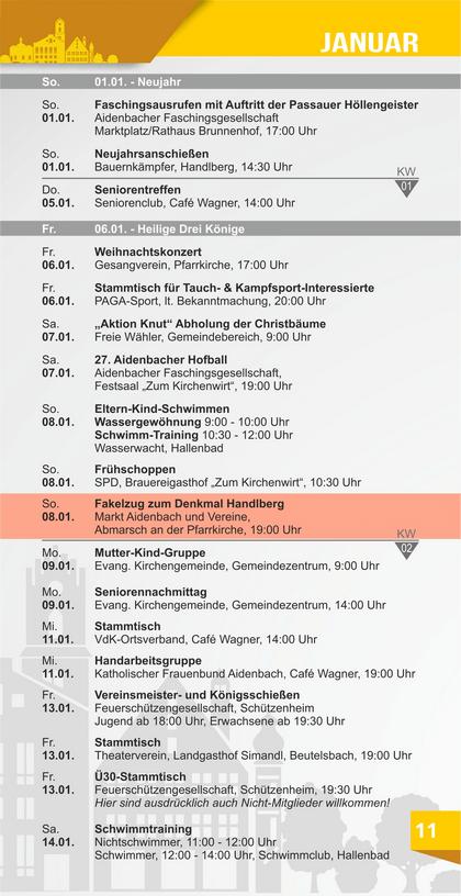 Veranstaltungskalender Aidenbach Januar