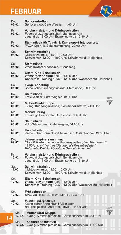 Veranstaltungskalender Aidenbach Februar