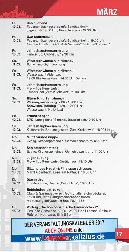 Veranstaltungskalender Aidenbach März