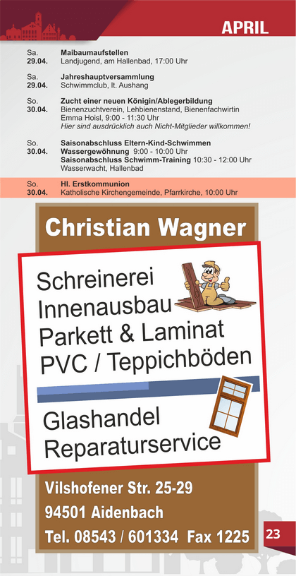 Veranstaltungskalender Aidenbach April