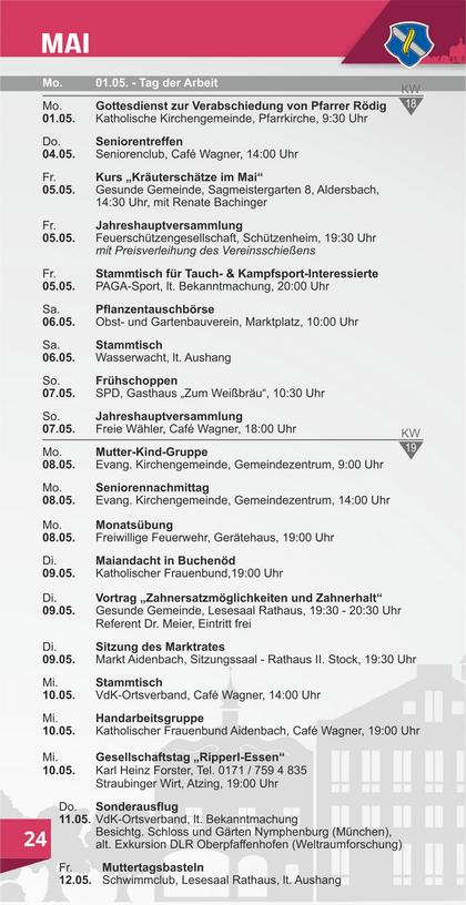 Veranstaltungskalender Aidenbach Mai
