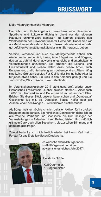 Grußwort Karl Obermeier