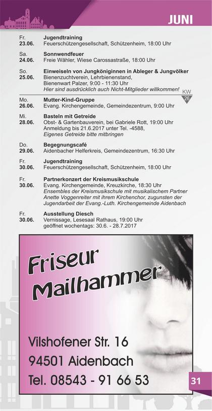 Veranstaltungskalender Aidenbach Juni
