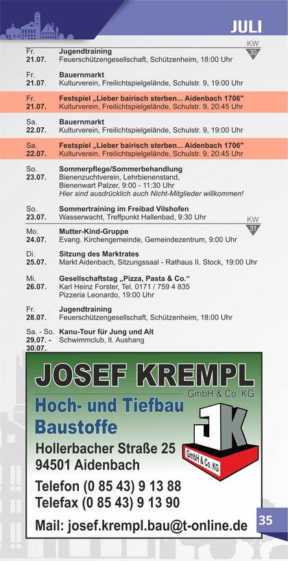 Veranstaltungskalender Aidenbach Juli