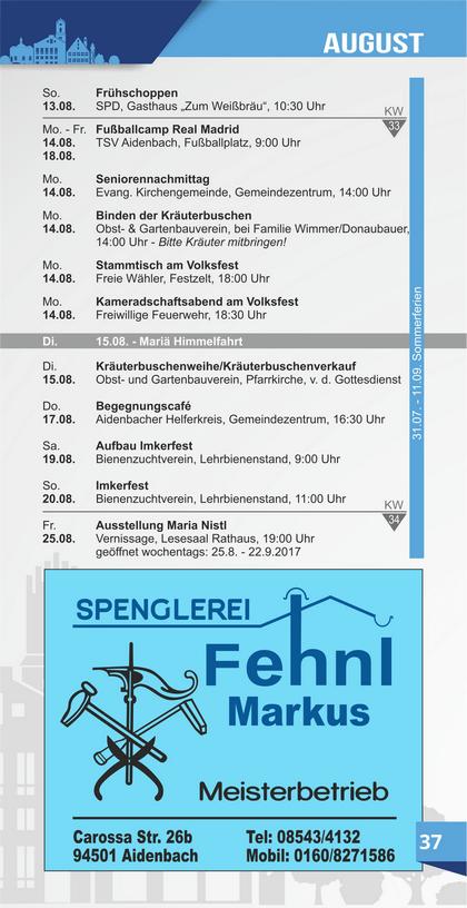 Veranstaltungskalender Aidenbach August