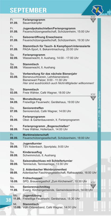 Veranstaltungskalender Aidenbach September