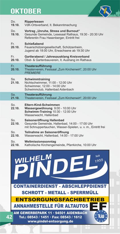 Veranstaltungskalender Aidenbach Oktober
