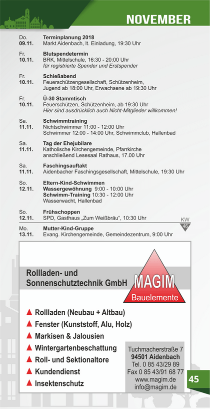 Veranstaltungskalender Aidenbach November