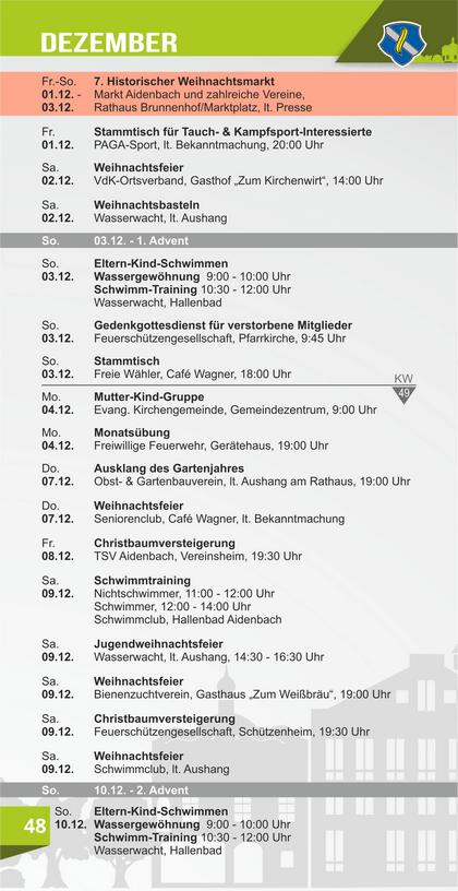 Veranstaltungskalender Aidenbach Dezember