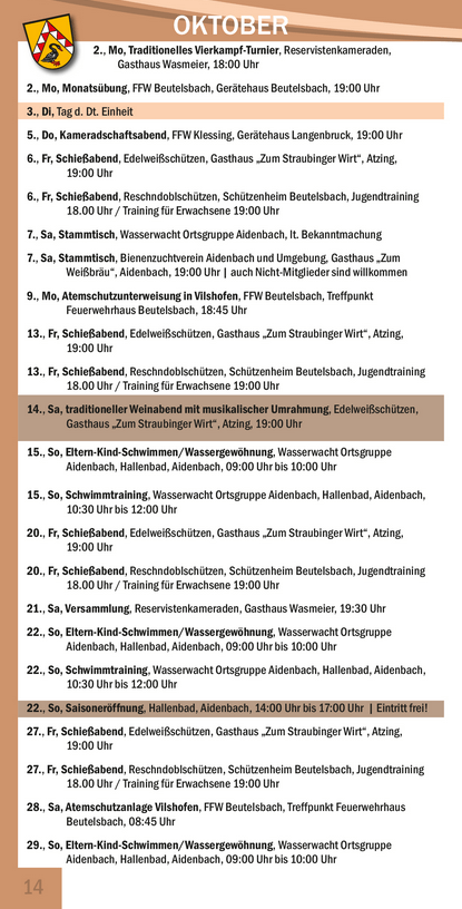Veranstaltungskalender Beutelsbach Dezember