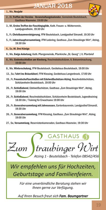 Veranstaltungskalender Beutelsbach Januar 2017
