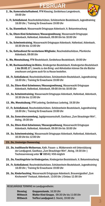 Veranstaltungskalender Beutelsbach Rathaus / Februar