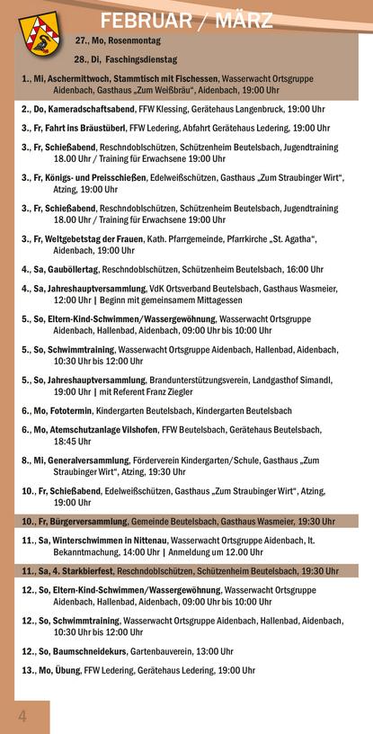 Veranstaltungskalender Beutelsbach März