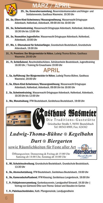 Veranstaltungskalender Beutelsbach April
