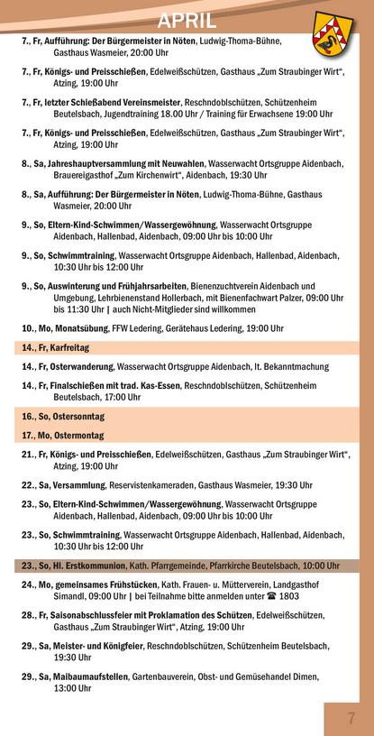 Veranstaltungskalender Beutelsbach Mai