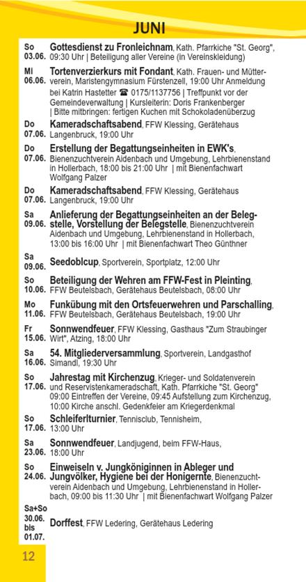 Veranstaltungskalender Beutelsbach Juni