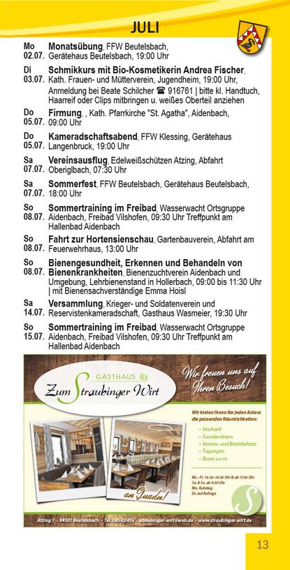 Veranstaltungskalender Beutelsbach Juli