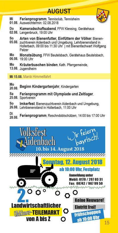 Veranstaltungskalender Beutelsbach August