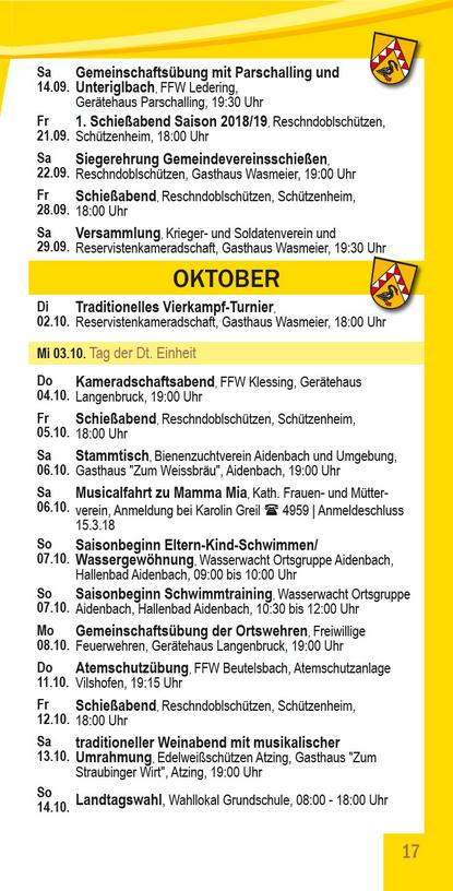 Veranstaltungskalender Beutelsbach September - Oktober
