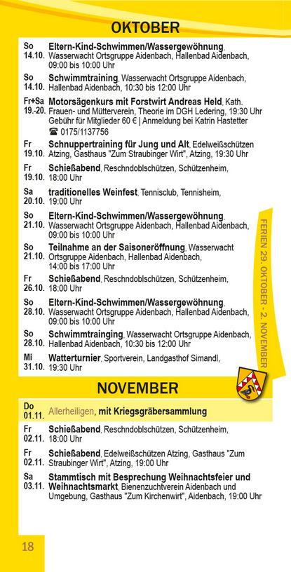 Veranstaltungskalender Beutelsbach Oktober - November