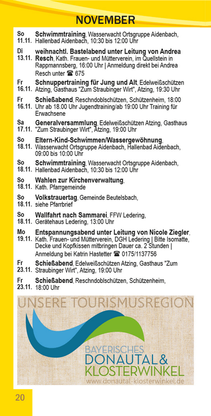 Veranstaltungskalender Beutelsbach November