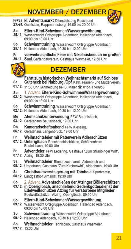 Veranstaltungskalender Beutelsbach November - Dezember