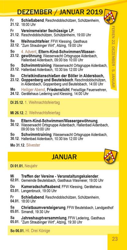 Veranstaltungskalender Beutelsbach Dezember 2018 - Januar 2019