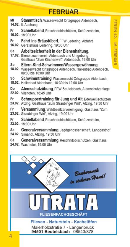 Veranstaltungskalender Beutelsbach Februar